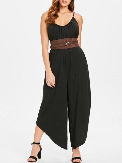Asymmetrical Hem Wide Leg Jumpsuit - BLACK 2XL