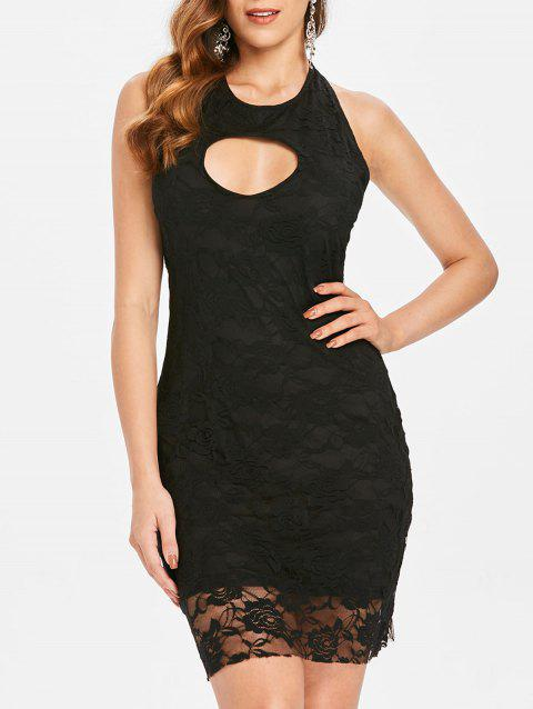 Backless Lace Bodycon Dress - BLACK L