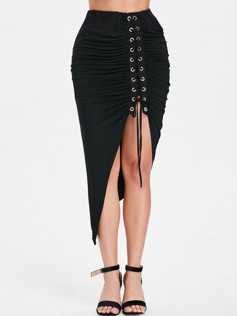 Asymmetrical Lace Up Ruched Bodycon Skirt - BLACK XL