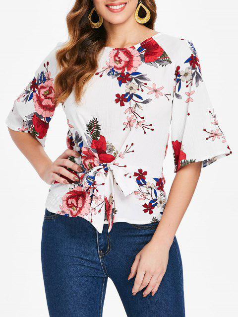 Knot Front Floral Blouse - MILK WHITE XL