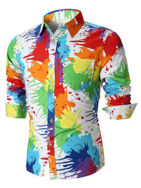 Colorful Paint Splatter Button Up Shirt - WHITE M