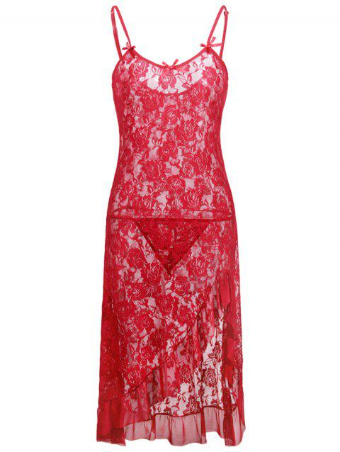 Plus Size Sheer Lace Slip Dress - LOVE RED 3X