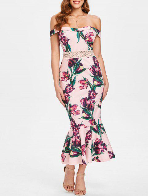 Floral Printed Mesh Waist Fishtail Dress - LIGHT PINK L