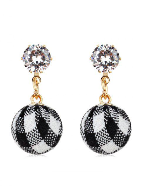 Grid Patterned Ball Rhinestone Dangle Earrings - BLACK