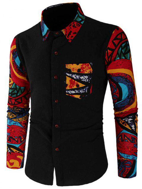 Casual Abstract Print Patchwork Shirt - BLACK 2XL