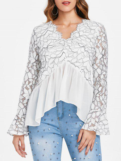 Plunging Neck Lace Panel Top - WHITE S