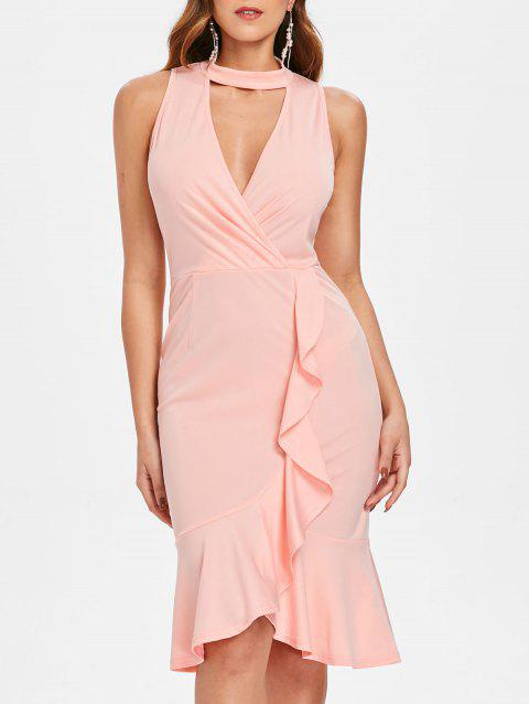 Cut Out Flounce Trim Small Fishtail Dress - LIGHT PINK M