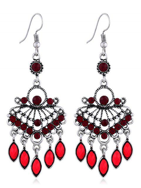 Hollow out Rhinestone Pendant Drop Earrings - FIRE ENGINE RED