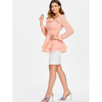 Ruffled Square Neck Peplum Blouse - LIGHT PINK M