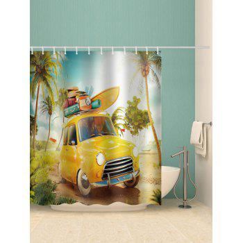 Beach Car Printed Waterproof Bathroom Shower Curtain - multicolor W65 INCH * L71 INCH