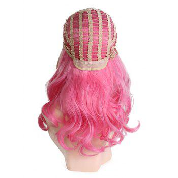 Middle Part Long Colormix Wavy Synthetic Cosplay Wig - CARNATION PINK