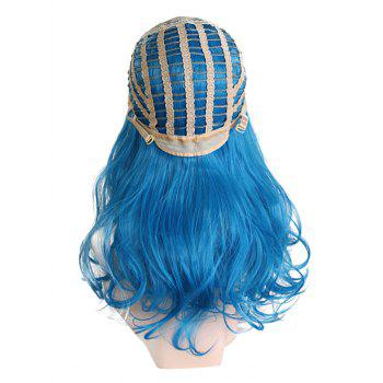 Middle Part Colormix Wavy Long Synthetic Cosplay Wig - OCEAN BLUE