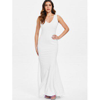Charming White Plunging Neck Sleeveless Bodycon Fishtail Maxi Dress For Women - WHITE M