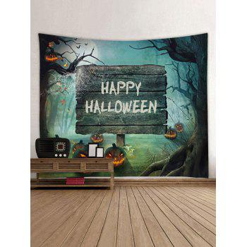 Halloween Cemetery Pumpkin Printed Tapestry Wall Art - multicolor W59 INCH * L59 INCH