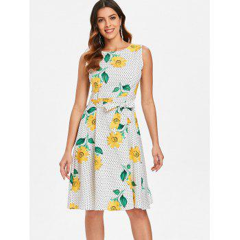 Sunflower Polka Dot Print Belted Dress - multicolor L