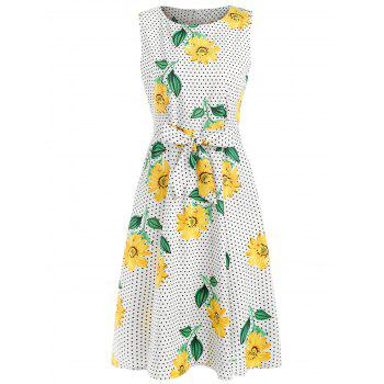 Sunflower Polka Dot Print Belted Dress - multicolor 2XL