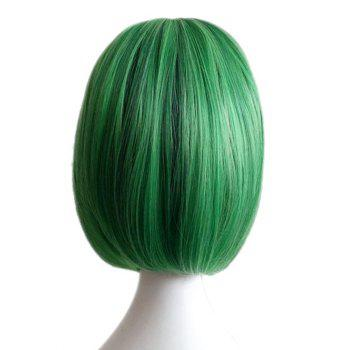 Short Inclined Bang Straight Bob Highlighted Synthetic Cosplay Wig - GREEN