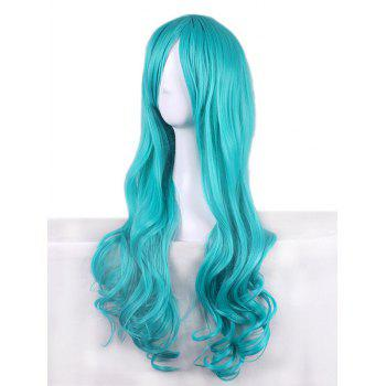 Long Inclined Bang Wavy Synthetic Anime Cosplay Wig - BLUE LAGOON