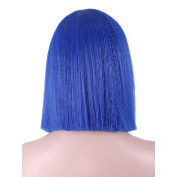 Short Full Bang Blunt Straight Bob Synthetic Party Cosplay Wig - BLUE