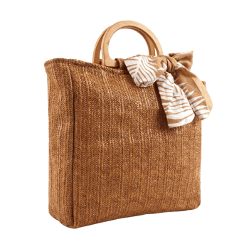 Woven Bowknot Leisure Holiday Tote Bag - BROWN