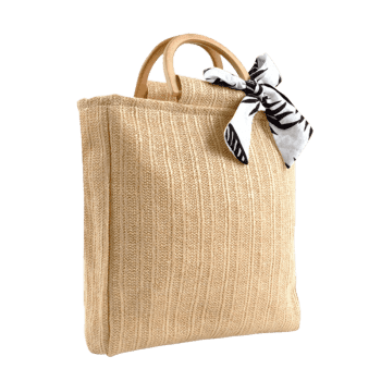 Woven Bowknot Leisure Holiday Tote Bag - APRICOT