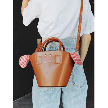 Minimalist Plaid PU Leather Tote Bag - BROWN