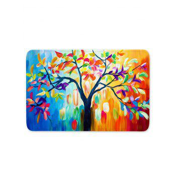 Oil Painting Tree Leaves Print Anti-skid Area Rug - multicolor W16 INCH * L47 INCH