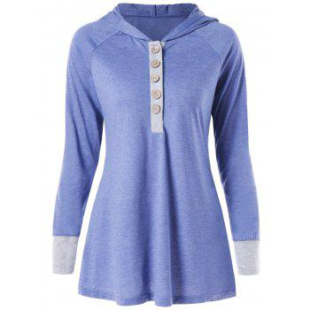 Hooded Raglan Sleeve Henley Tee - LIGHT STEEL BLUE M