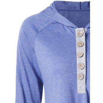 Hooded Raglan Sleeve Henley Tee - LIGHT STEEL BLUE L