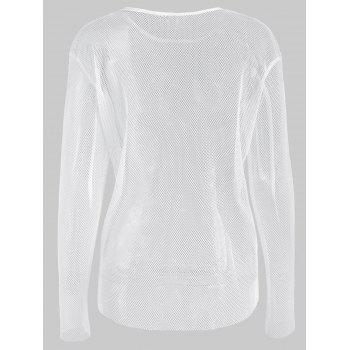 Long Sleeve Mesh Top - WHITE M