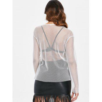 Long Sleeve Mesh Top - WHITE L