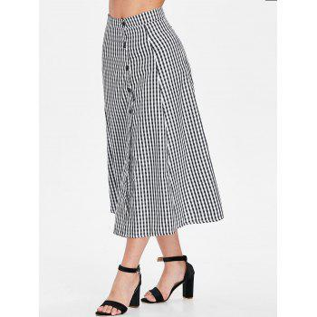 High Waist Gingham Print Mid Calf Skirt - BLACK L