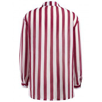 Striped Chiffon Shirt - RED S