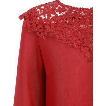 Lace Panel Round Neck Blouse - FIRE ENGINE RED L