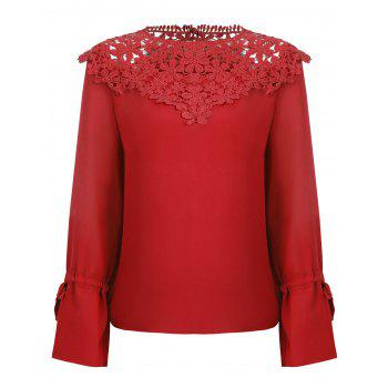 Lace Panel Round Neck Blouse - FIRE ENGINE RED S