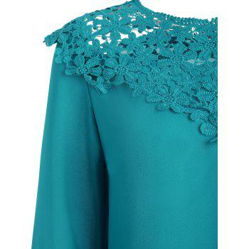 Lace Panel Round Neck Blouse - NORTHERN LIGHTS BLUE XL