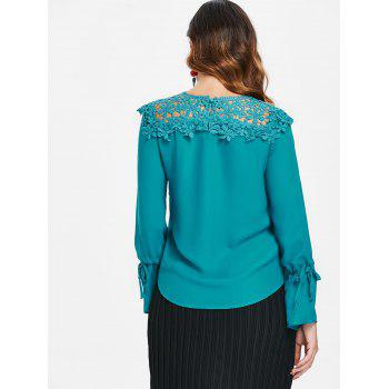 Lace Panel Round Neck Blouse - NORTHERN LIGHTS BLUE L