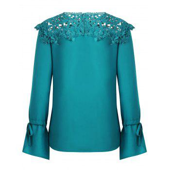 Lace Panel Round Neck Blouse - NORTHERN LIGHTS BLUE M