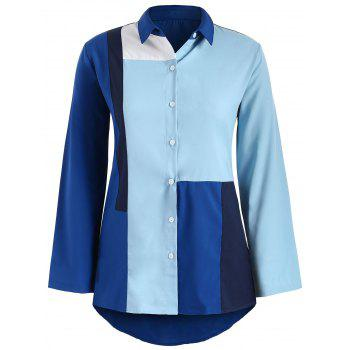Long Sleeve Color Block Shirt - BLUE S