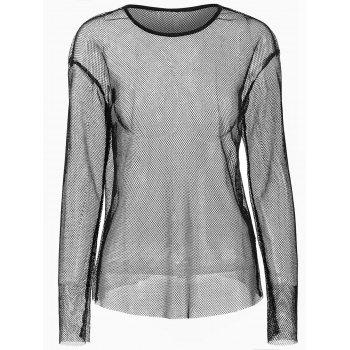 Long Sleeve Mesh Top - BLACK L