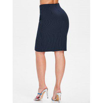 Front Pockets Striped Fitted Skirt - CADETBLUE S