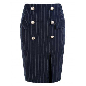 Front Pockets Striped Fitted Skirt - CADETBLUE L