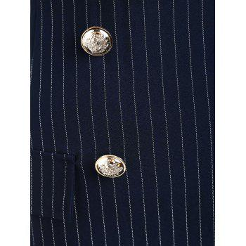 Front Pockets Striped Fitted Skirt - CADETBLUE XL