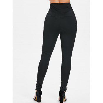 Buttons Lace Up High Waist Skinny Pants - BLACK 2XL
