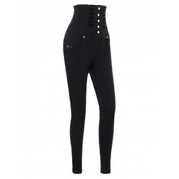 Buttons Lace Up High Waist Skinny Pants - BLACK L