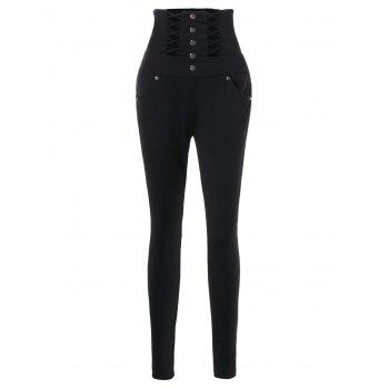 Buttons Lace Up High Waist Skinny Pants - BLACK XL