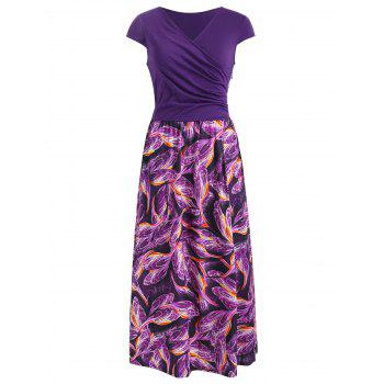 Printed Overlap Midi Dress - PURPLE JAM M
