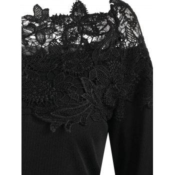 Long Sleeve Lace Panel Top - BLACK S