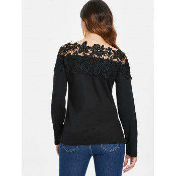 Long Sleeve Lace Panel Top - BLACK M