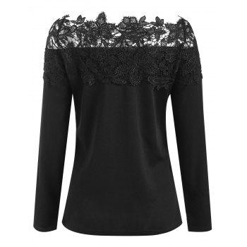 Long Sleeve Lace Panel Top - BLACK L